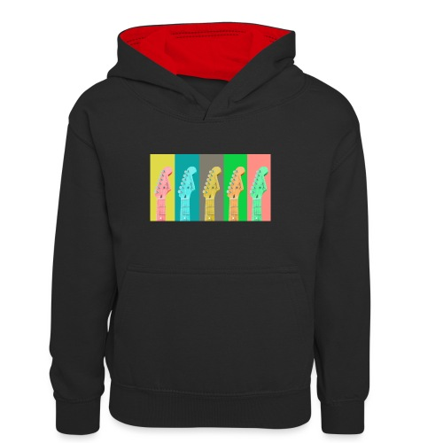 Colorful Guitar Gathering by #OneCreativeArts - Teenager Kontrast-Hoodie
