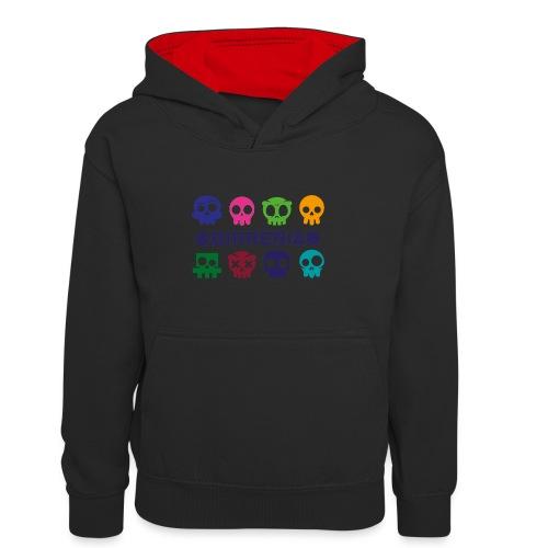 Kids color Skulls - Teenager Kontrast-Hoodie