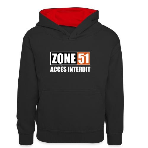 ZONE 51 - ACCES INTERDIT - Sweat à capuche contrasté Ado