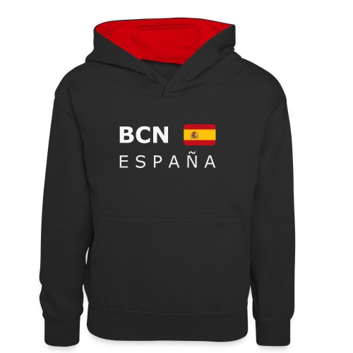 BCN ESPAÑA white-lettered 400 dpi - Teenager Contrast Hoodie