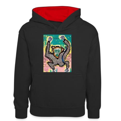 the monkey - Felpa con cappuccio in contrasto cromatico per ragazzi