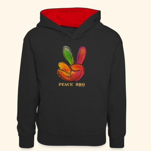PEACE BRO - Teenager contrast-hoodie
