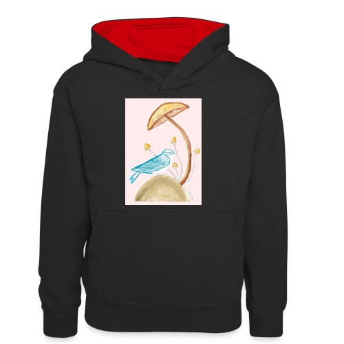 fungo con uccello - Felpa con cappuccio in contrasto cromatico per ragazzi