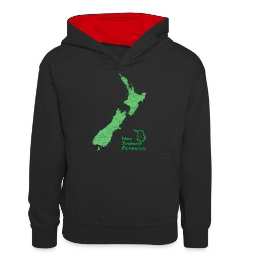 New Zealand's Map - Teenager Contrast Hoodie