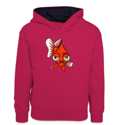 Angry Fish - Sweat à capuche contrasté Ado