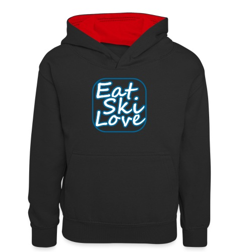 eat ski love - Teenager contrast-hoodie