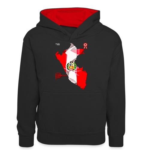 Mapa del Peru, Bandera und Escarapela - Teenager Kontrast-Hoodie