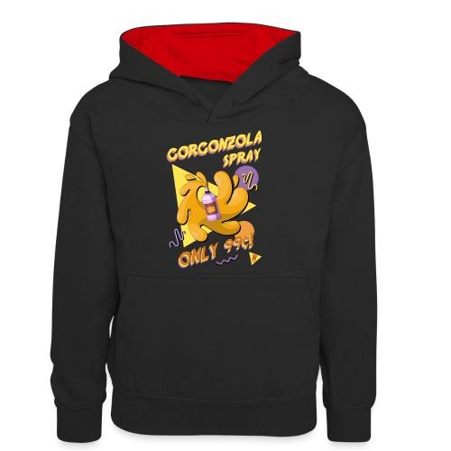 Gorgonzola spray - Felpa con cappuccio in contrasto cromatico per ragazzi