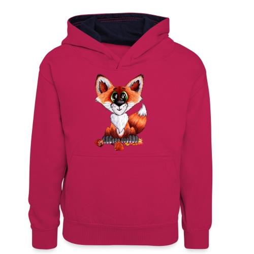 llwynogyn - a little red fox - Teinien kontrastivärinen huppari
