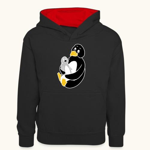 Drôle de pingouin Papa Idée cadeau des parents - Sweat à capuche contrasté Ado