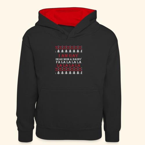 Gay Christmas sweater - Młodzieżowa bluza z kontrastowym kapturem