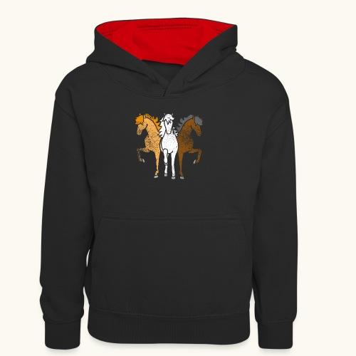 Drôle idée de cadeau chevaux couleurs troika Grunge - Sweat à capuche contrasté Ado