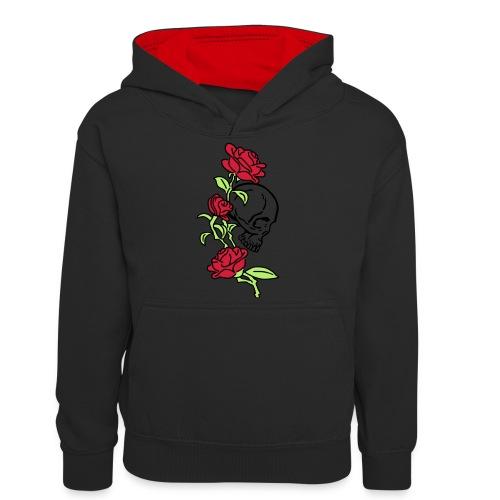 teschio e rose es123_2 - Felpa con cappuccio in contrasto cromatico per ragazzi
