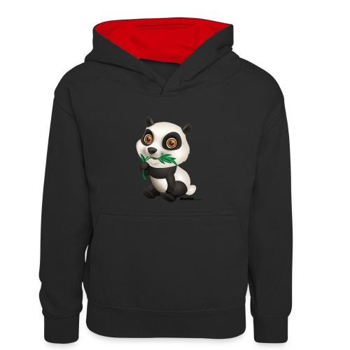 Panda - Kontrast-hettegenser for tenåringer