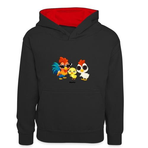 Kurczak - autorstwa Momio Designer Emeraldo. - Młodzieżowa bluza z kontrastowym kapturem