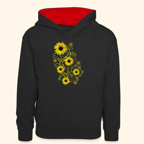 gelbe Sonnenblumen, Ornamente, Sonnenblume, Blumen - Teenager Kontrast-Hoodie