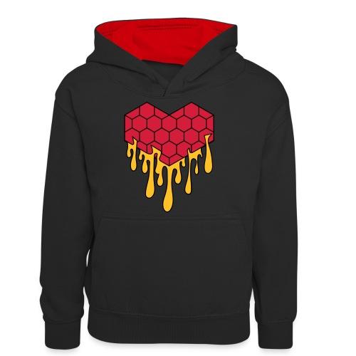 Honey heart cuore miele radeo - Felpa con cappuccio in contrasto cromatico per ragazzi