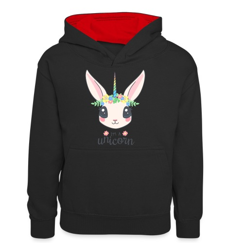 I am Unicorn - Teenager Kontrast-Hoodie