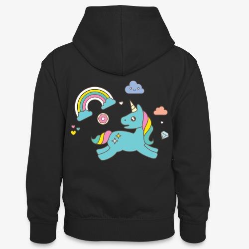 colored unicorn - Teenager Contrast Hoodie