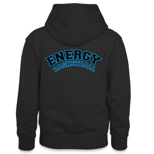 baby energy basketball logo nero - Felpa con cappuccio in contrasto cromatico per ragazzi