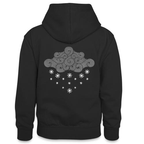 nuage gris et flocons vacances d'hiver - Sweat à capuche contrasté Ado