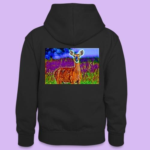 Cerbiatto con magici effetti - Felpa con cappuccio in contrasto cromatico per ragazzi