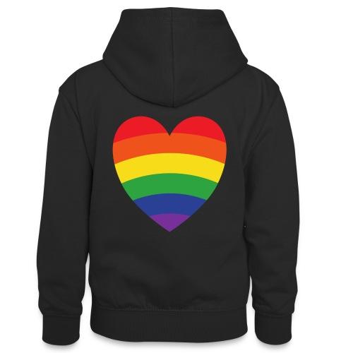 Regenbogenherz | LGBT | Geschenkidee - Teenager Kontrast-Hoodie