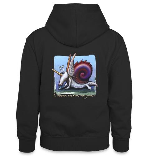 Unichiocciolo - Felpa con cappuccio in contrasto cromatico per ragazzi