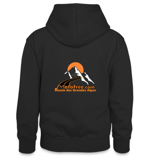 logo motofree orange - Sweat à capuche contrasté Ado