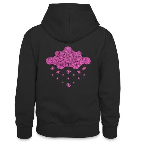 nuage rose et flocons vacances d'hiver - Sweat à capuche contrasté Ado