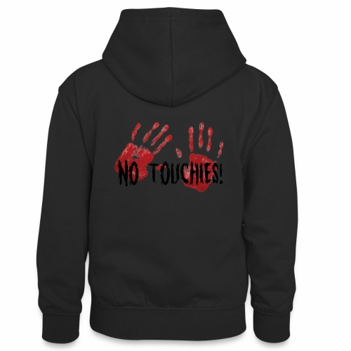 No Touchies 2 Bloody Hands Behind Black Text - Teenager Contrast Hoodie