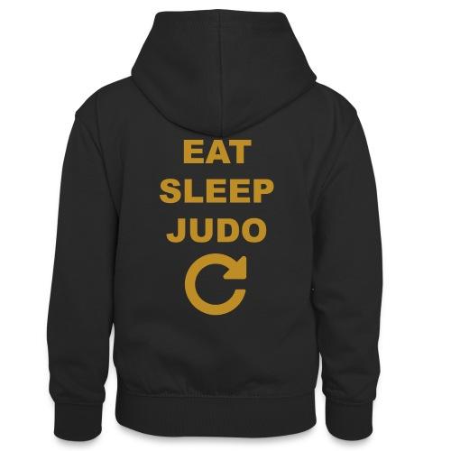 Eat sleep Judo repeat - Młodzieżowa bluza z kontrastowym kapturem