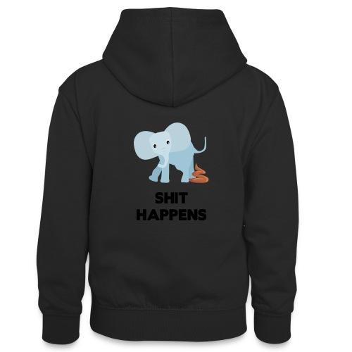 olifant met drol shit happens poep schaamte - Teenager contrast-hoodie