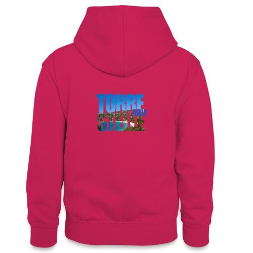 TorreTshirt - Felpa con cappuccio in contrasto cromatico per ragazzi