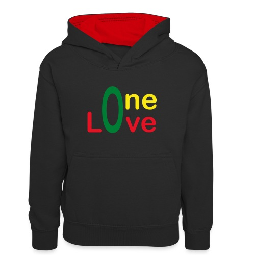 One love - version 2 - Sweat à capuche contrasté Ado