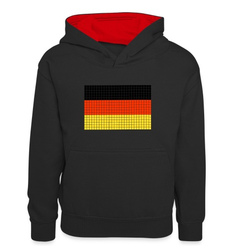 german flag.png - Felpa con cappuccio in contrasto cromatico per ragazzi