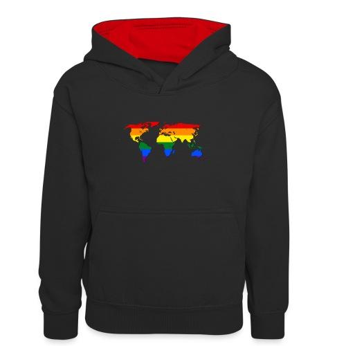 RAINBOW WORLD - LOVE Is LOVE - GAYPRIDE - Teenager Kontrast-Hoodie