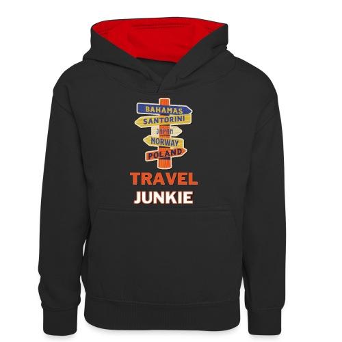 traveljunkie - i like to travel - Teenager Kontrast-Hoodie