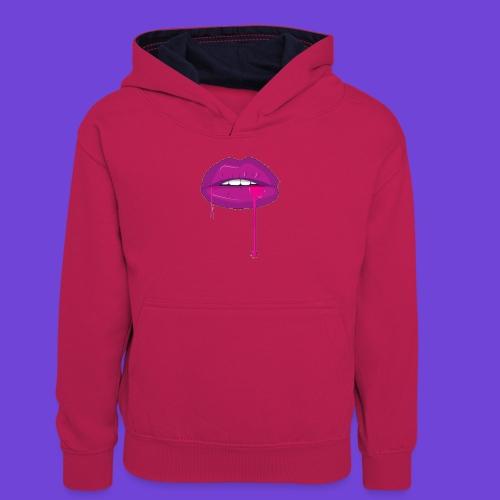Purple Kiss - Felpa con cappuccio in contrasto cromatico per ragazzi