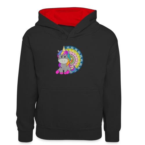 Unicorno Mandala - Felpa con cappuccio in contrasto cromatico per ragazzi