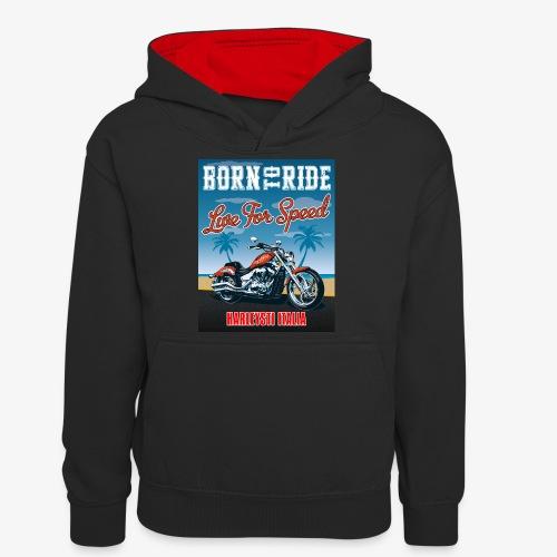Summer 2021 - Born to ride - Felpa con cappuccio in contrasto cromatico per ragazzi