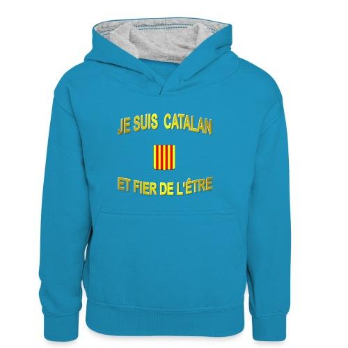 Tee-Shirt supporter du pays CATALAN - Sweat à capuche contrasté Ado