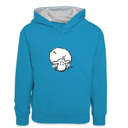 Pecore dell'albero di Natale - Felpa con cappuccio in contrasto cromatico per ragazzi