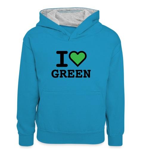 i-love-green-2.png - Felpa con cappuccio in contrasto cromatico per ragazzi