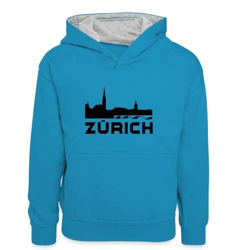 Zürich - Teenager Kontrast-Hoodie
