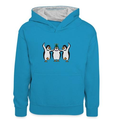Penguin Trio - Teenager Contrast Hoodie