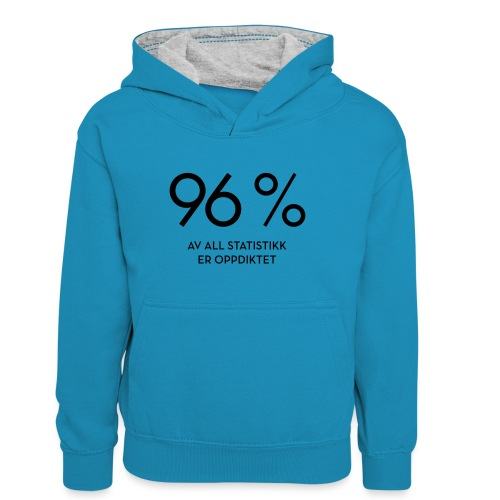 Statistikk-sprøyt (fra Det norske plagg) - Kontrast-hettegenser for tenåringer
