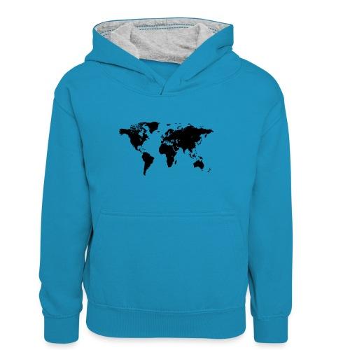 World Map - Teenager Kontrast-Hoodie