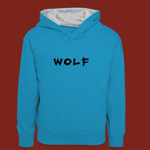 Wolf Font png - Teenager contrast-hoodie