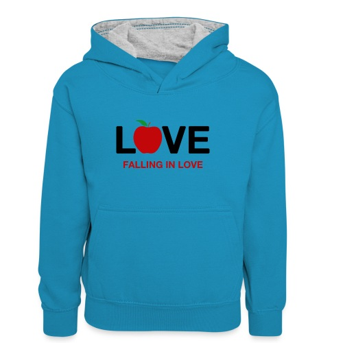 Falling in Love - Black - Teenager Contrast Hoodie